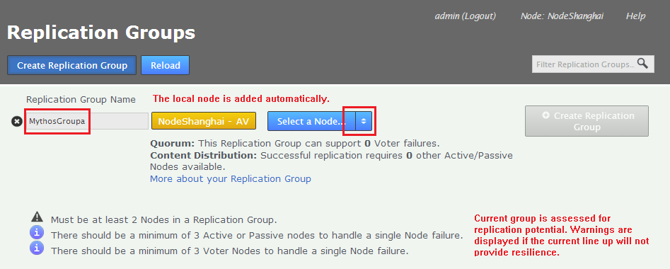 Identifier string for a node